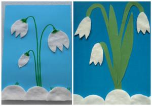 podsnezhniki_vatnyh_diskov Поделки из ватных дисков своими руками. Цветы из ватных дисков: подснежники, розы, ромашки, каллы. Топиарий из ватных дисков. Детские поделки из ватных дисков в детский сад, школу: фото