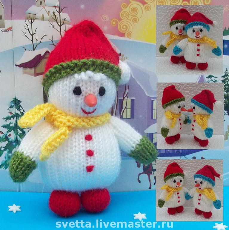 Схема и описание вязаного снеговика, как связать на спицах ...