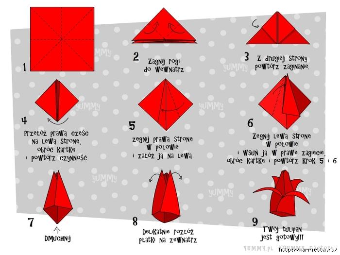 Тюльпаны из бумаги своими руками оригами схема фото 589