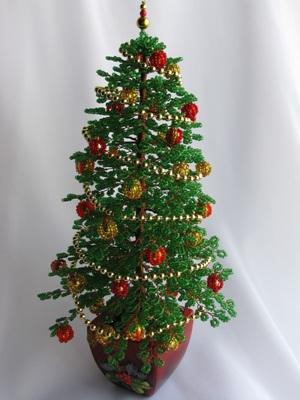 novogodnyaya_podelka_bisera Новогодние елочки из бисера своими руками