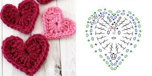 Схемы вязания крючком сердечек с описанием 264