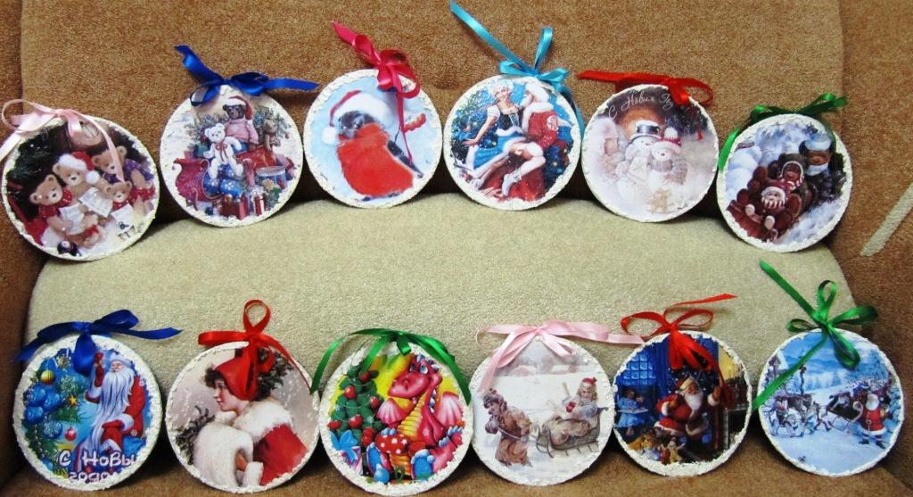 Новогодние открытки шары из дисков