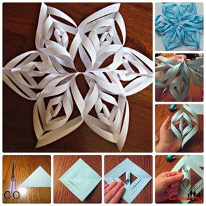 snezhinka_bumagi_so_steplerom Оригами – объемные снежинки: схемы изготовления, шаблоны, фото. Как сделать объемную новогоднюю снежинку 3D из бумаги своими руками: пошаговая инструкция