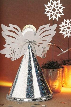 podelki_rozhdestvo Рождественские поделки: ангел своими руками из мешковины и картона,подарок на новый год