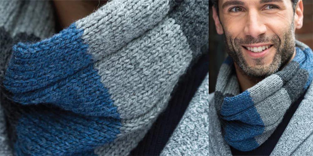 мужской шарф своими руками как связать снуд для мужчины спицами