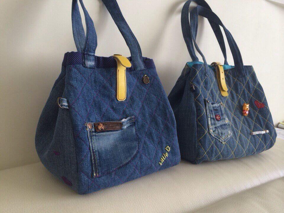 4daed2ed5a52 Оригинальные сумки своими руками на основе старых джинсов. Сумка из джинсов