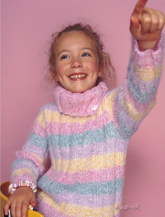 свитер или детская кофта спицами для девочки поэтапное описание