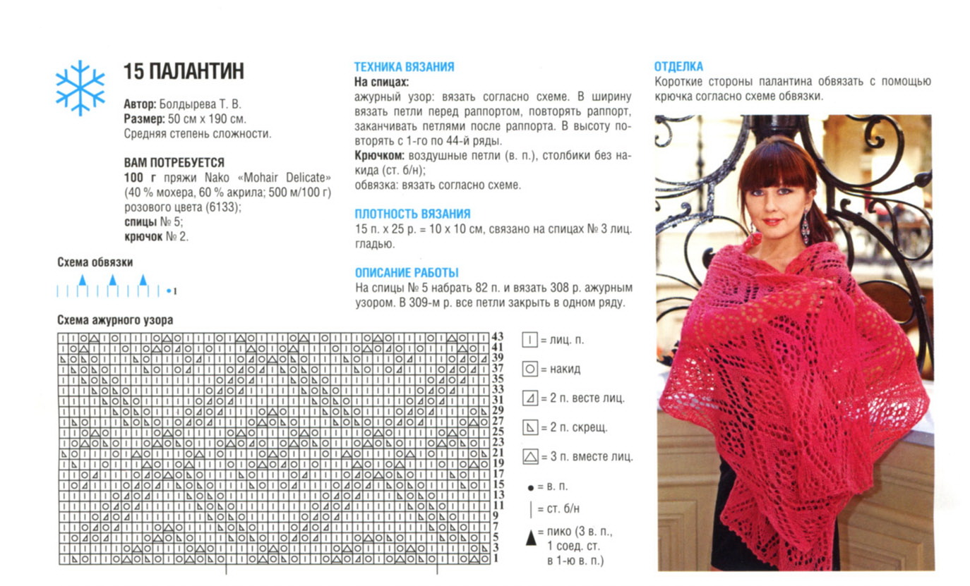 Схема вязания ажурного палантина спицами фото 203