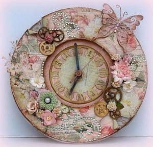 chasy_stile_dekupazh Как можно оформить часы в технике декупаж?