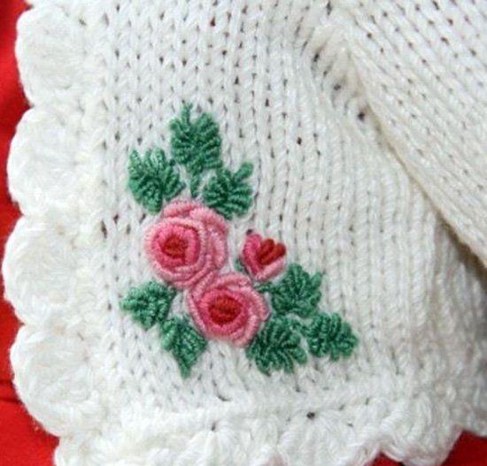 вышивка по вязаной кофте и трикотажном полотне своими руками