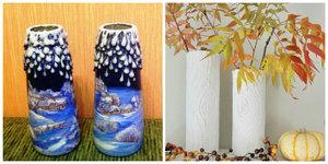 vazy_shpagata_svoimi_rukami Декор вазы своими руками, декорирование высоких напольных ваз для цветов, как украсить стеклянную вазу, декор из кожи, веток