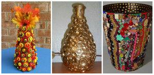 dekorirovanie_vazy_svoimi Декор вазы своими руками, декорирование высоких напольных ваз для цветов, как украсить стеклянную вазу, декор из кожи, веток