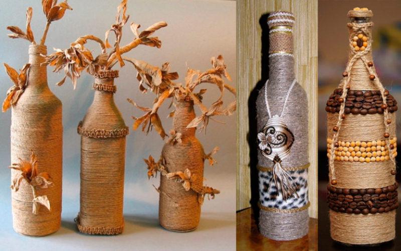 Украшение вазы из крупы
