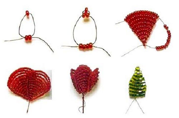 Как сделать розу из бисера  инструкция по плетению маленькой ... 389fd9394a5e0