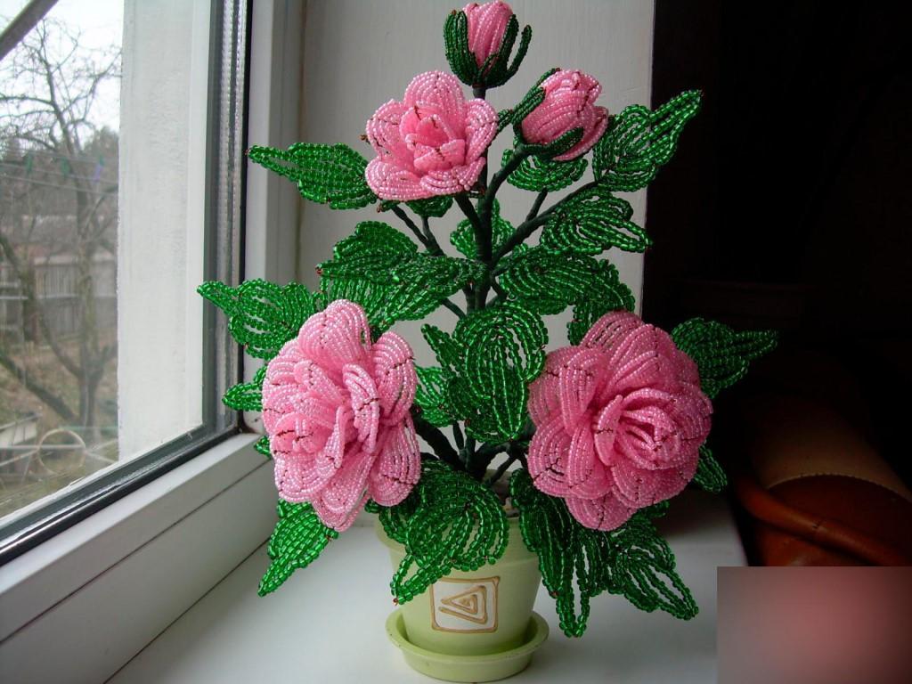 Как сделать розы из бисера своими руками фото 646