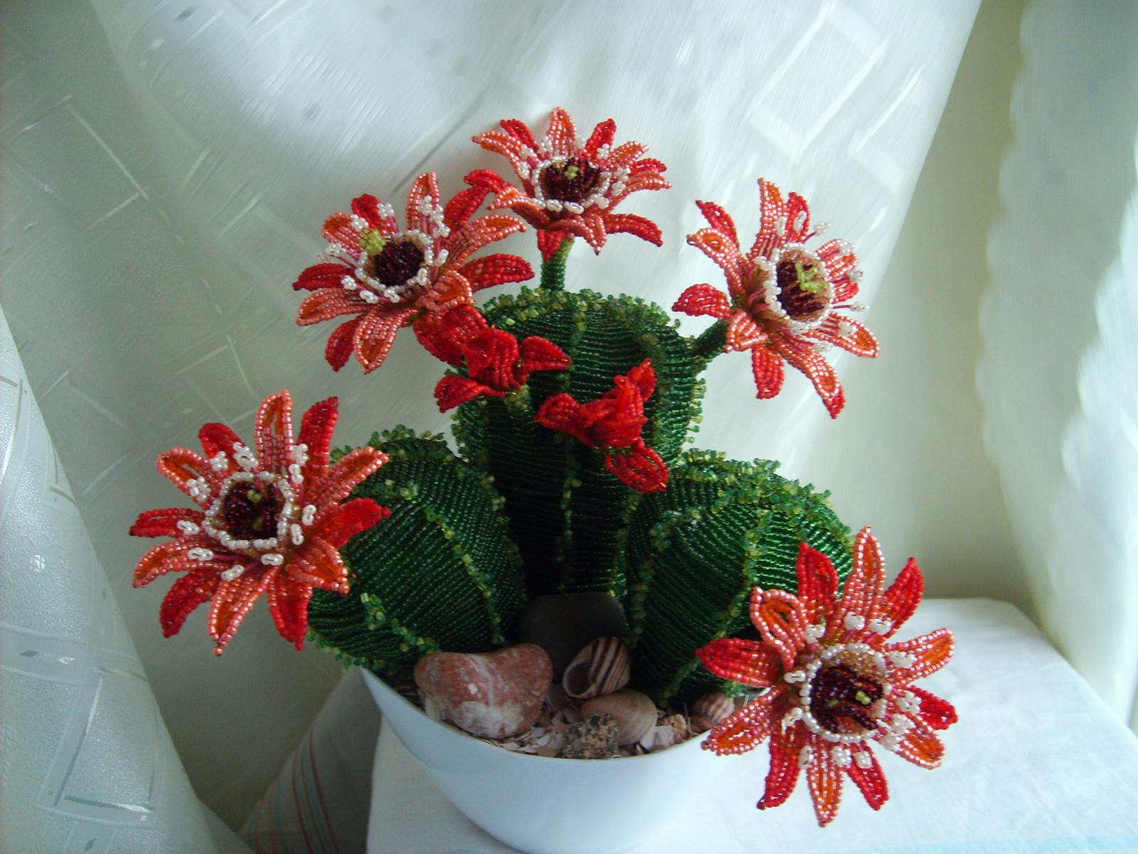 Схема плетения цветка кактуса из бисера фото 683