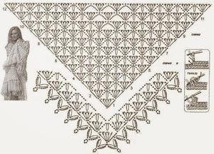 вязанные крючком косынки и шали схемы ажурных узоров для женщин и