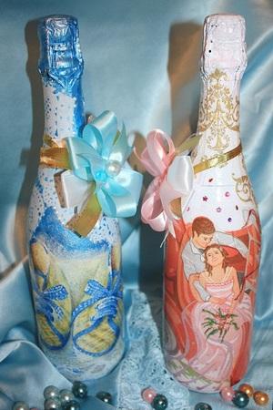 Оформление салфетками бутылок