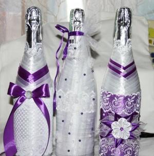 Украшение цветами канзаши бутылок