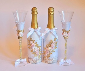 Универсальный декор бутылок на свадьбу