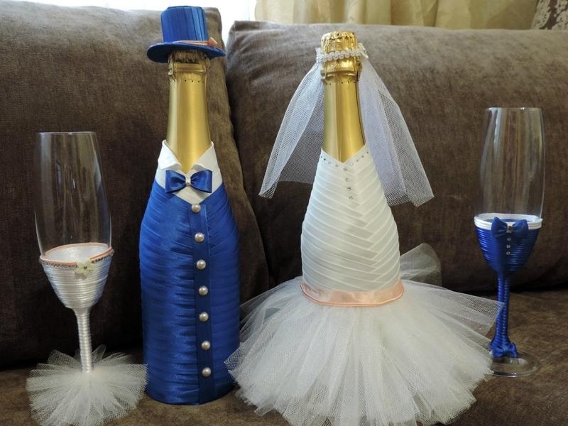Декупаж шампанского на свадьбу