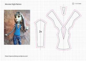 Выкройка одежды для кукол монстр хай